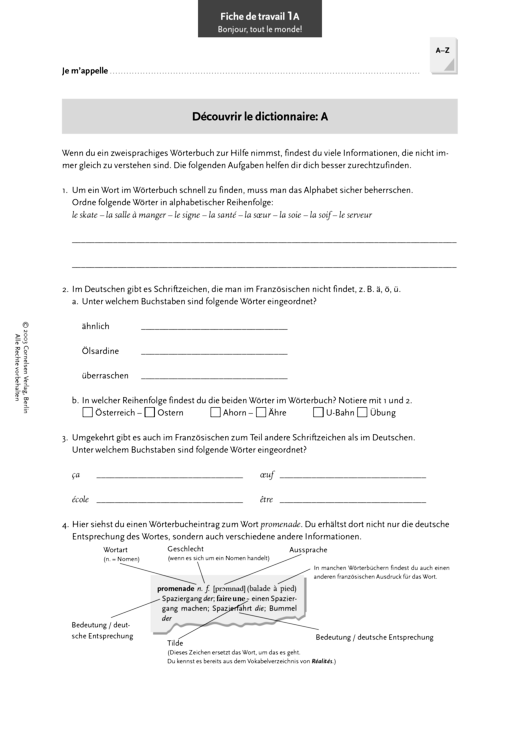 """Réalités 3, Einstieg """"Bonjour, tout le monde!"""": Travailler avec le dictionnaire: Découvrir le dictionnaire - Arbeitsblatt - Webshop-Download"""