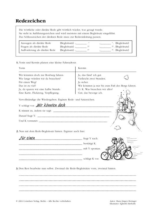 Zeichensetzung Bei Wörtlicher Rede Arbeitsblatt Webshop Download