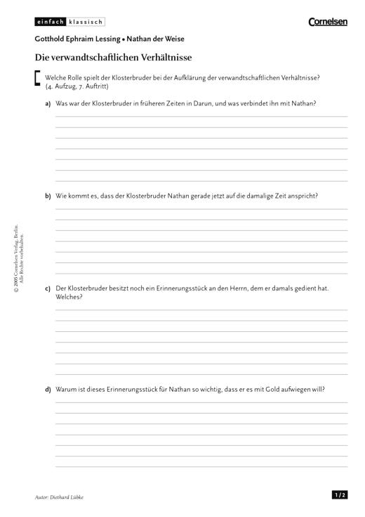 Einfach klassisch - Einfach klassisch: Nathan der Weise - Die verwandtschaftlichen Verhältnisse - Arbeitsblatt