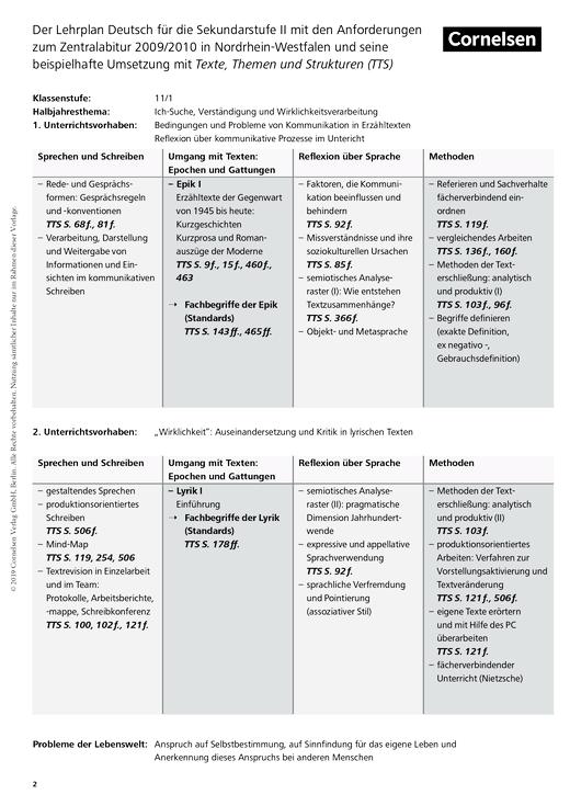 Umsetzung des Lehrplans zum Zentralabitur ab 2009 in Nordrhein-Westfalen - Zentralabitur Nordrhein-Westfalen - Webshop-Download