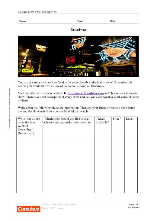 Internetprojekt: Broadway - Arbeitsblatt - Webshop-Download