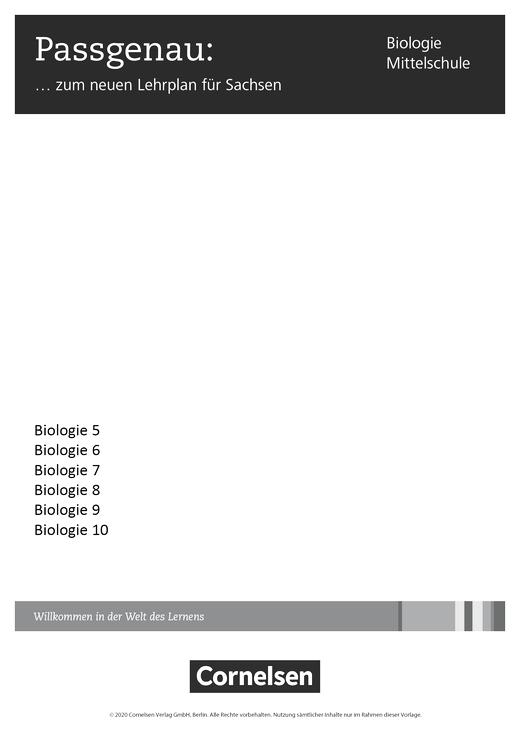 Biologie - Ausgabe Volk und Wissen - Der neue Lehrplan für Sachsen und die Umsetzung in Biologie - Synopse - 5. Schuljahr