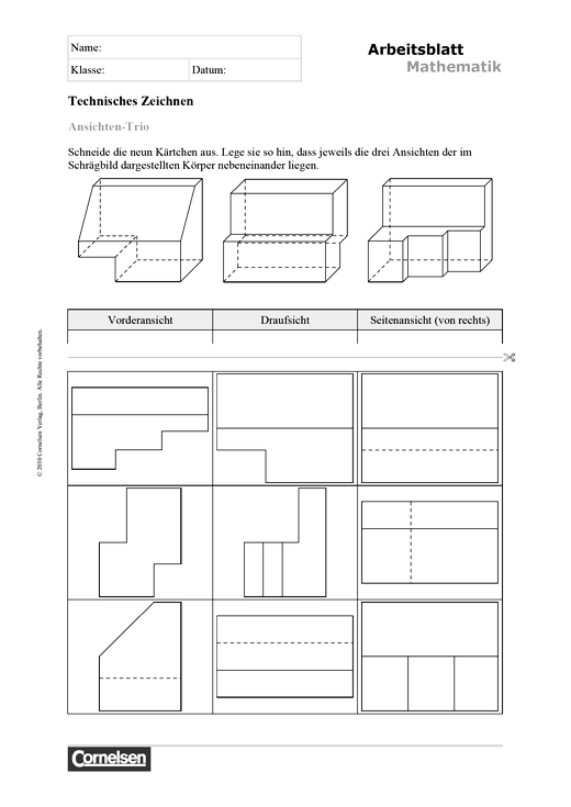 arbeitsblatt ansichten trio arbeitsblatt webshop download cornelsen. Black Bedroom Furniture Sets. Home Design Ideas