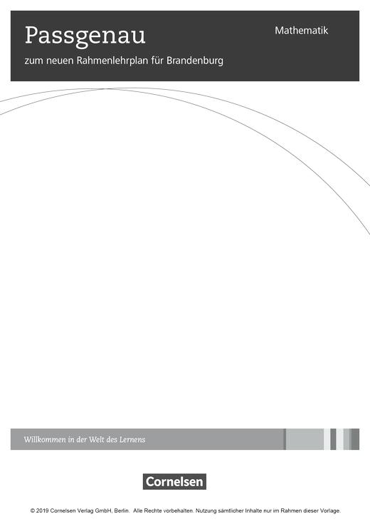 Der Rahmenlehrplan Mathematik für Brandenburg und seine Umsetzung in Zahlen und Größen - Stoffverteilungsplan - Webshop-Download