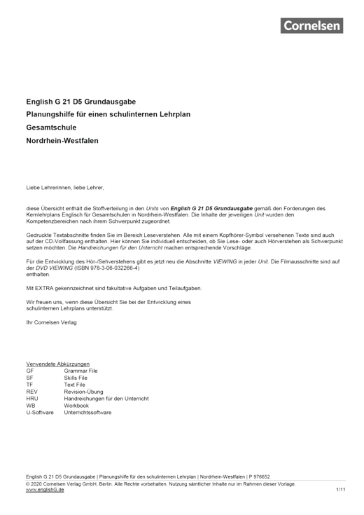 English G 21 - Planungshilfe für Nordrhein-Westfalen - Band 5: 9. Schuljahr