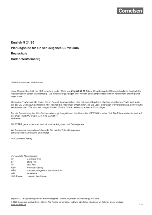 English G 21 - Planungshilfe für Realschulen in Baden-Württemberg - Band 5: 9. Schuljahr