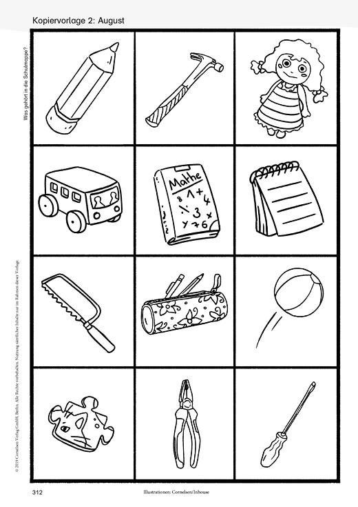 Was gehört in die Schulmappe? - Kopiervorlage