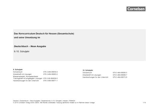 Deutschbuch - Stoffverteilungsplan zum Deutschbuch - Neue Ausgabe Gesamtschule Schuljahr 9-10 Hessen - Stoffverteilungsplan - Webshop-Download