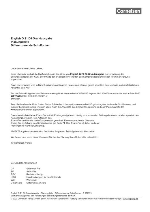 English G 21 - Planungshilfe - Band 6: 10. Schuljahr