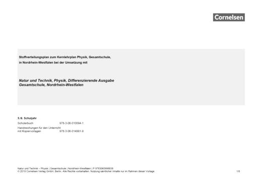 Natur und Technik - Physik: Differenzierende Ausgabe - Der neue Kernlehrplan für die Gesamtschule Nordrhein-Westfalen (Natur und Technik, Physik, DA) - Stoffverteilungsplan - Band 1