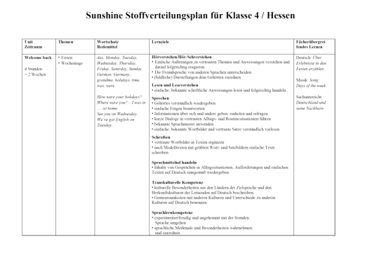 Sunshine - Stoffverteilungsplan für Hessen - Band 2: 4. Schuljahr