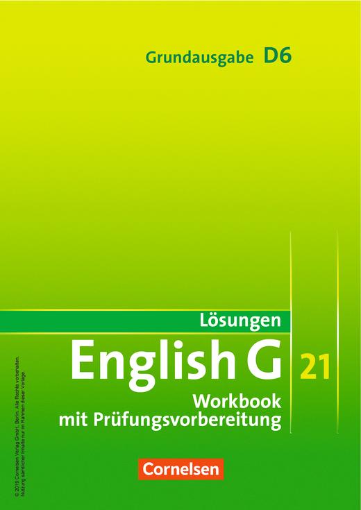 English G 21 - Lösungen zum Workbook als Download - Band 6: 10. Schuljahr