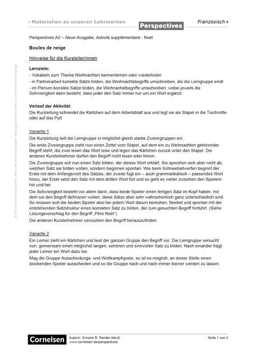 Perspectives - Perspectives A2 – Neue Ausgabe, Activité supplémentaire pour Noël :  Boules de neige - Arbeitsblatt - A2