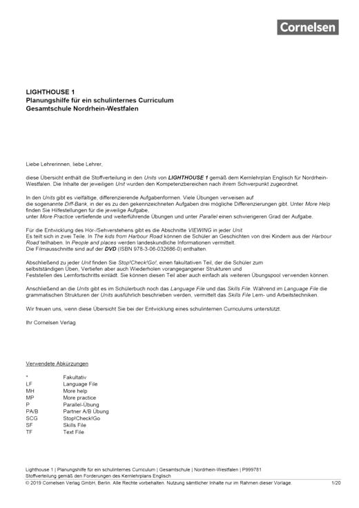 English G Lighthouse - Lighthouse 1 – Planungshilfe - Planunghilfe für Gesamtschulen in Nordrhein-Westfalen - Band 1: 5. Schuljahr