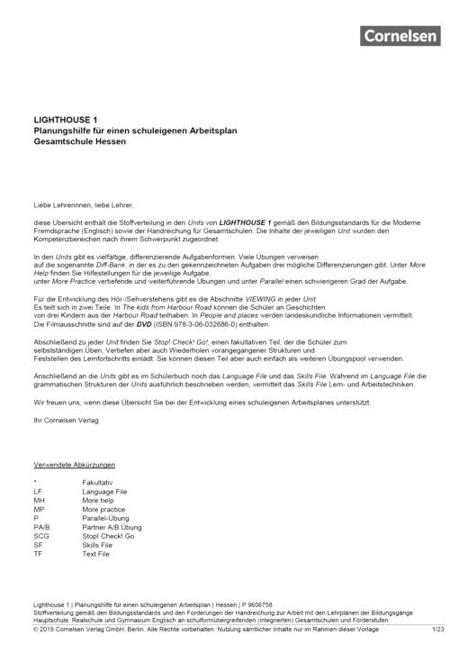 English G Lighthouse - Planungshilfe für Gesamtschulen in Hessen - Band 1: 5. Schuljahr