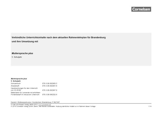 Muttersprache plus - Synopse für Brandenburg - 5. Schuljahr