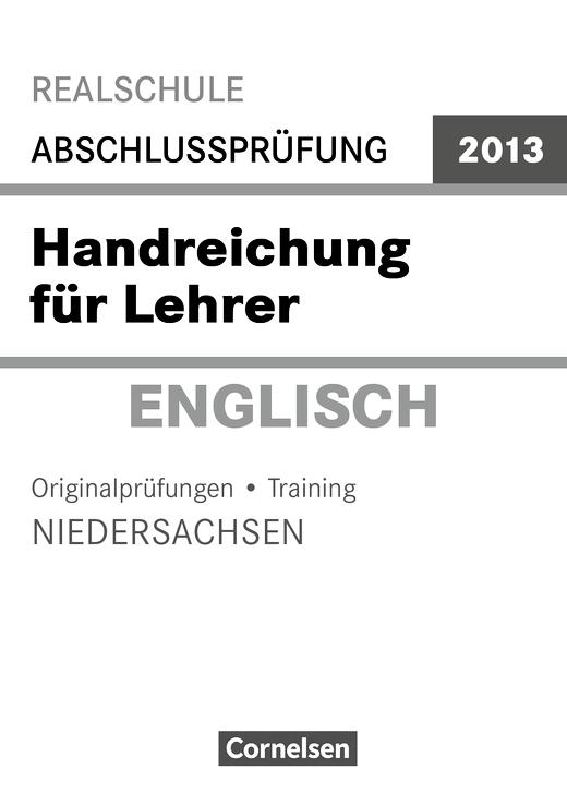 MSA 2013 Englisch Niedersachsen Lehrerhandreichungen - Handreichung