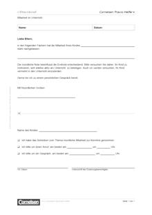 Elternbrief: Mitarbeit im Unterricht - Editierbare Kopiervorlage