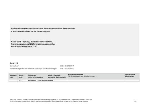 Natur und Technik - Physik: Grundausgabe mit Differenzierungsangebot - Stoffverteilungsplan für Nordrhein-Westfalen - Gesamtband