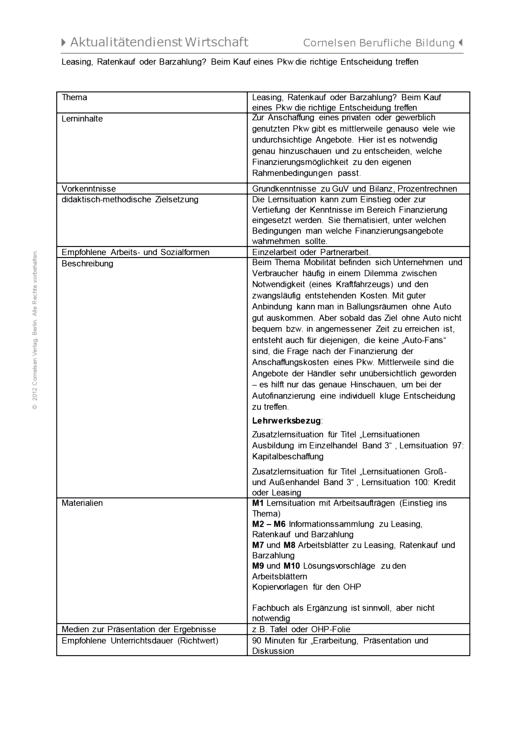 Lernsituation zum Thema Leasing und Finanzierung - Arbeitsblatt - Webshop-Download