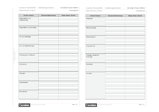 Terminübersicht - Editierbare Kopiervorlage - Webshop-Download