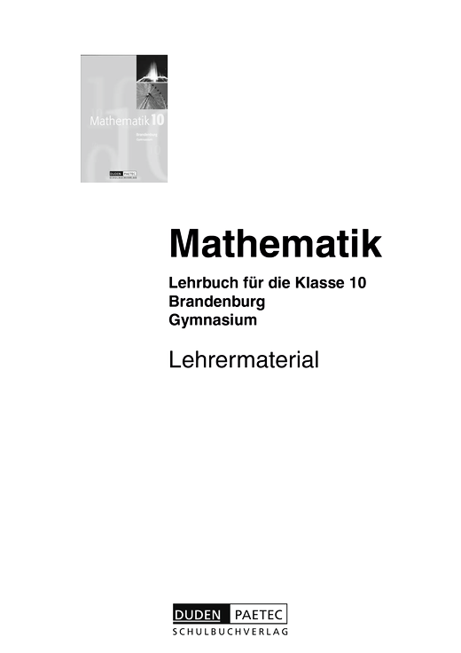 "Lehrermaterial ""Mathematik 10"", Gymnasium Brandenburg als Download - Handreichung - Webshop-Download"