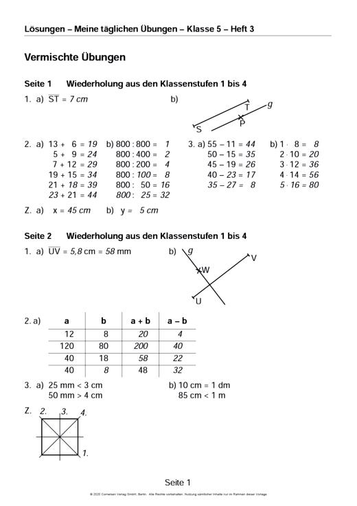 Meine täglichen Übungen in Mathematik - Lösungen als Download - 5./6. Schuljahr