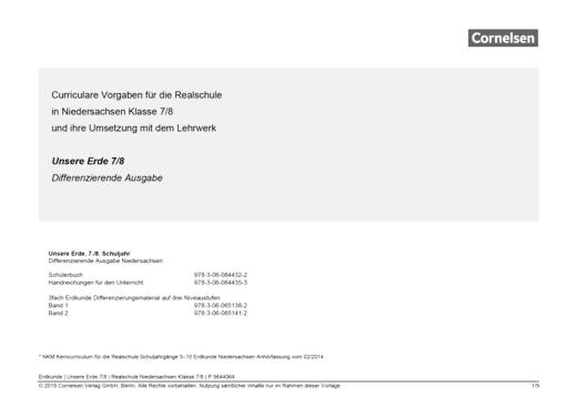Unsere Erde - Vorlage schuleigener Arbeitsplan – Niedersachsen Realschule, Klasse 7,8 - Planungshilfe - 7./8. Schuljahr