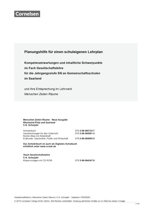 Menschen-Zeiten-Räume - Planungshilfe für einen schuleigenen Lehrplan (Saarland) - Band 1: 5./6. Schuljahr