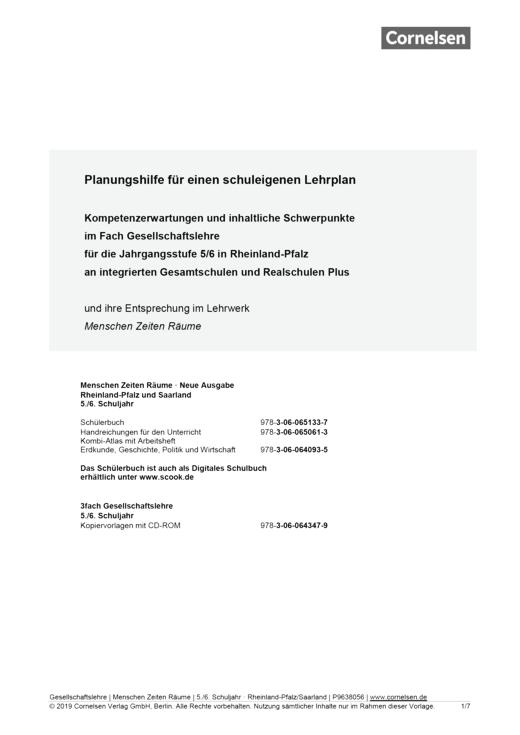 Menschen-Zeiten-Räume - Planungshilfe für einen schuleigenen Lehrplan (Rheinland-Pfalz) - Band 1: 5./6. Schuljahr
