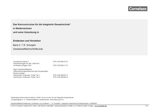 Entdecken und verstehen - Gesellschaftslehre/Weltkunde - Vorlage schuleigener Arbeitsplan – Niedersachsen IGS, Klasse 7,8 - Synopse - Band 2: 7./8. Schuljahr