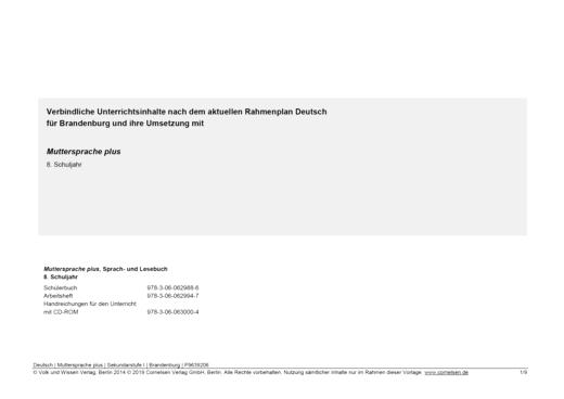 Muttersprache plus - Synopse für Brandenburg - 8. Schuljahr