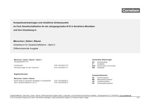 Menschen-Zeiten-Räume - Planungshilfe zu Menschen-Zeiten-Räume – Differenzierende Ausgabe NRW, Band 3 - Planungshilfe - Band 3: 9./10. Schuljahr