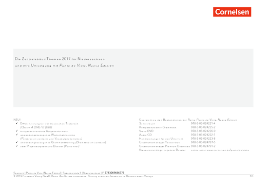 Punto de vista - Punto de vista - Nueva edición für die Oberstufe - Synopse - B1/B2