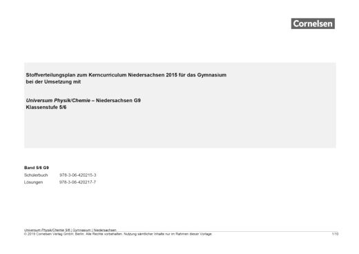 Universum Physik - Vorschlag für ein Schulcurriculum - Stoffverteilungsplan - 5./6. Schuljahr - Physik/Chemie
