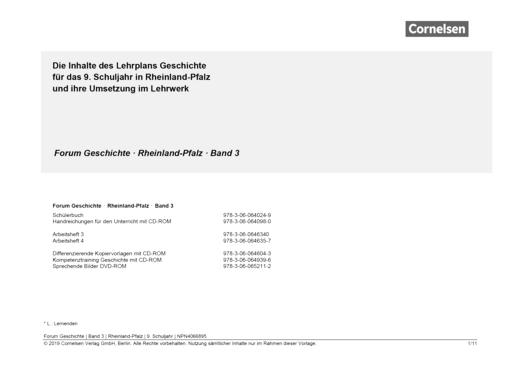 Forum Geschichte - Neue Ausgabe - Forum Geschichte Rheinland-Pfalz 3 : Planungshilfe für einen schuleigenen Lehrplan - Planungshilfe - Band 3