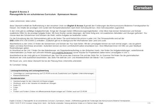 English G Access - English G Access 3 – Planungshilfe für ein schulinternes Curriculum Hessen - Synopse - Webshop-Download