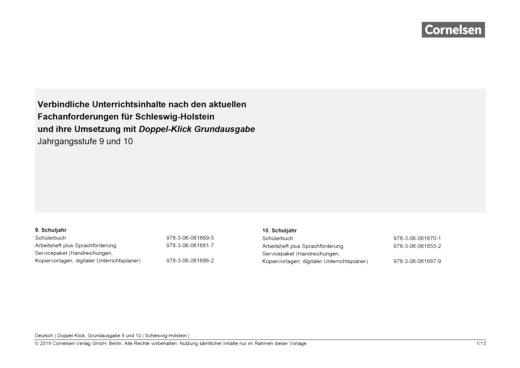 Doppel-Klick - Planungshilfe für Schleswig-Holstein - 9./10. Schuljahr