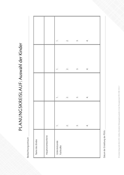So gelingt's - Der Kita-Ratgeber - Planungskreislauf - Auswahl der Kinder - Kopiervorlage