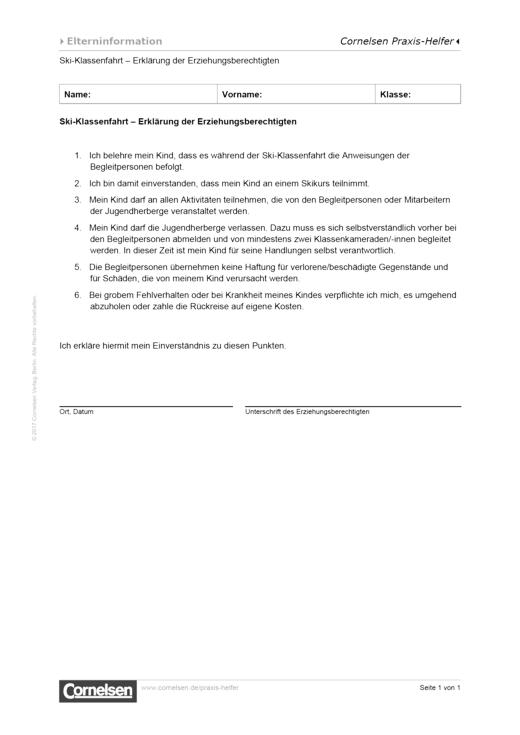 Skifahrt - Erklärung des Erziehungsberechtigten - Vorlage für den Schulalltag