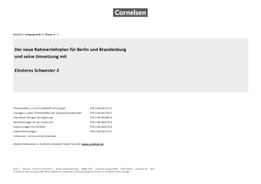 Einsterns Schwester - Einsterns Schwester 3 Verbrauchsmaterial – Sypnopse zum Rahmenlehrplan Berlin/Brandenburg - Stoffverteilungsplan - 3. Schuljahr