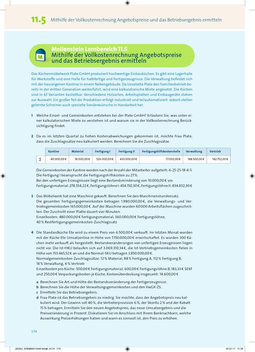 Wirtschaft für Fachoberschulen und Höhere Berufsfachschulen - Korrektur Inhaltsseite 174 vom AB 11 BWL mit REWE - Korrekturseiten - Jahrgangsstufe 11
