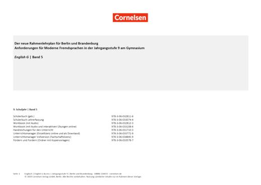 English G Access - English G Access 5 - Synopse zum neuen Rahmenlehrplan Berlin/Brandenburg - Synopse - Webshop-Download