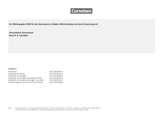 Deutschbuch Gymnasium - Planungshilfe zum Deutschbuch Gymnasium 4, BW - Planungshilfe - Band 4: 8. Schuljahr