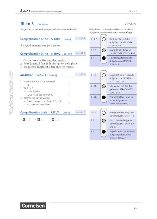 À plus ! - Bilan 3 – S. 150-151 - Lösungen - Band 1