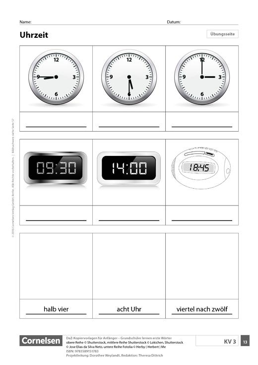 DaZ: Uhrzeit (Grundschule) - Arbeitsblatt - Webshop-Download