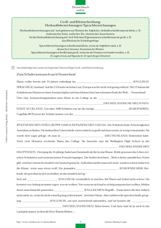 Groß- und Kleinschreibung: Herkunftsbezeichnungen / Sprachbezeichnungen - Arbeitsblatt - Webshop-Download