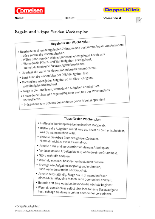 Wochenplan: Frühlingsgedichte - Arbeitsblatt - Webshop-Download