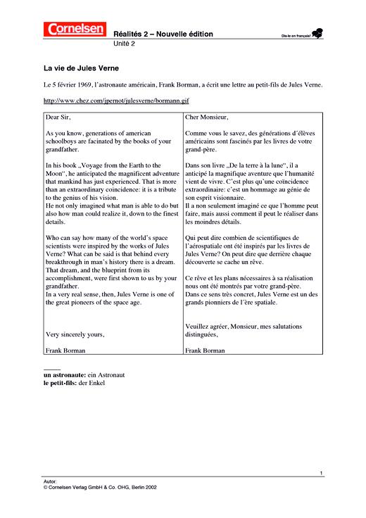 Réalités 2, Unité 2: La vie de Jules Verne - Arbeitsblatt - Webshop-Download