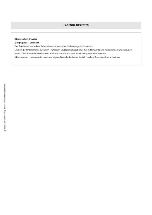 Réalités 3, Unité 2: L'agenda des fêtes - Arbeitsblatt - Webshop-Download